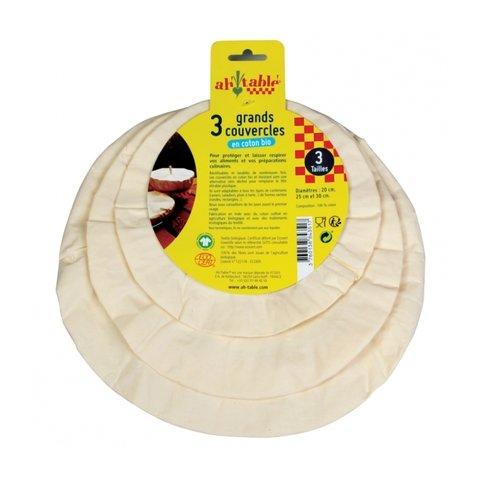 Ecodis Sada 3 velkých víček z bio bavlny