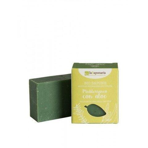 laSaponaria Tuhé olivové mýdlo BIO Středomořské bylinky s aloe 100 g