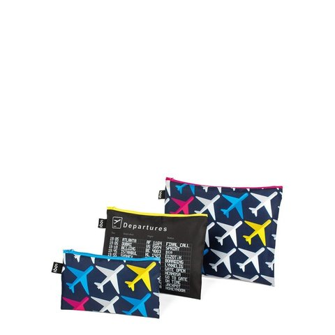LOQI Airport Cestovní kapsičky na zip set 3ks