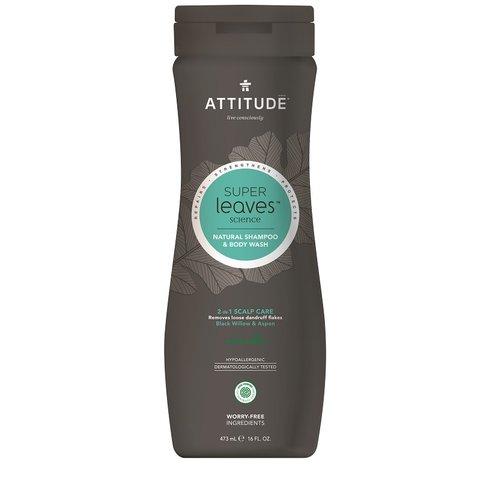 Přírodní pánský šampón & tělové mýdlo (2 v 1) ATTITUDE Super leaves s detoxikačním účinkem - proti lupům 473 ml