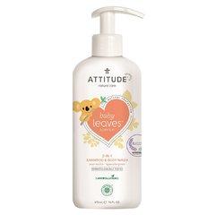 Attitude Baby leaves Dětské tělové mýdlo a šampon 2v1 s vůní hruškové šťávy 473 ml