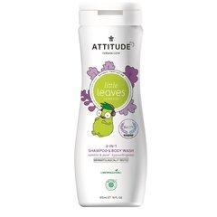 Attitude Baby leaves Dětské tělové mýdlo a šampon 2v1 s vůní vanilky a hrušky 473 ml